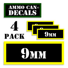 """9MM Ammo Can 9MM Labels Ammunition Case 3""""x1.15"""" 9MM sticker decals 4 pack BLYW"""