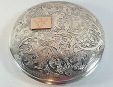 "VINTAGE CONTINENTAL 833 SILVER POWDER COMPACT ENGRAVED FLORAL MONOGRAMMED ""IW"""