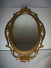 1965 SYROCO Gold Colored Wall Mirror Ornate Floral Decoration