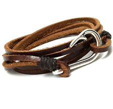 Leather Silver Fish Hook Coffee Brown Bracelet Wrap Cuff Men Women Anchor Charm