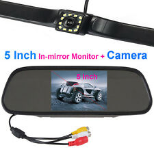 "12 LED Night Vision Car Backup Camera+5"" LCD Display Rear View In-mirror Monitor"