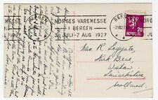 NORWAY: 1927 POSTCARD TO SCOTLAND WITH SLOGAN POSTMARK (C12170)