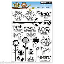 New Penny Black BUGSY AND OWLY Clear Stamp Set Critters Owl Bird Nature Insects