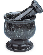 Heavy new black granite marble kitchen pestle & mortar for home or gift - medium
