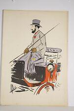 Estampe ancienne 1910/20 Caricature Cocher MICH Michel Liébeaux Locomotion