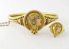 Antique Art Nouveau 14K Enamel Byzantine Female Lady Locket Bracelet & Ring Set