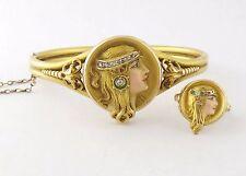 Antique Art Nouveau 14K Enamel Byzantine Female Lady Locket Bracelet & Ring Set