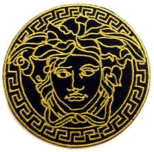 "BLACK & GOLD MEDUSA LOGO IRON ON PATCH 2.5"" SEW EMBROIDERED LOGO FASHION VINTAGE"