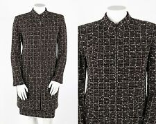 ST JOHN 2 Pc Brown White Boucle Novelty Knit Jacket Skirt Suit Set Size 16 / 10