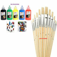 Glass Paint Set Painting Kit +12 PC ASSORTED WOODEN HANDLE ARTIST's BRUSHES