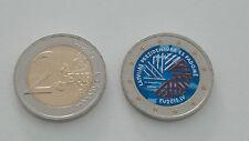 2 euro colorati Lettonia Presidenza Europea Commemorativa dipinta a mano