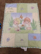 PRECIOUS MOMENTS Crib Boy Girl Blanket Quilt Vintage Nursery Baby Soft