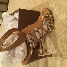 Coach Jody veg leather print Python sandals 7.5 m natural/bone  new in box