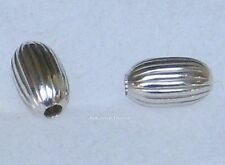 .925 Sterling Silver 4x7mm Corrugated Oval Spacer Beads 8pcs. New