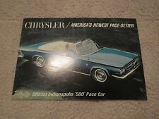 NOS 1963 CHRYSLER 300 INDIANAPOLIS 500 PACE CAR ORIGINAL UNUSED PROMO POSTCARD