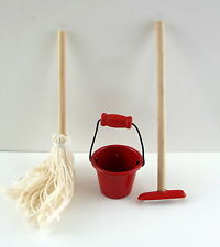 Dolls House Miniature 1:12 Scale Kitchen Cleaning Accessory Bucket Mop & Broom