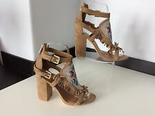 ASH TAN Suede Leather Shoes Heels Size 37 Uk 4 Peep Toe Tassel