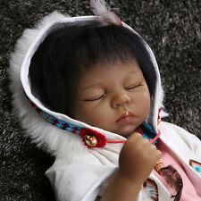 "New 22"" Rare Native American Indian Vinyl Silicone Reborn Baby Dolls Lifelike"