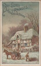 Victorian Trade Card-Bay State Ranges-O S Kendall & Co-Worcester, MA-Horse Cart