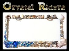 LICENSE PLATE FRAME SEA SHELLS CRYSTALS DIAMOND RHINESTONE BLING GLASS LICENCE