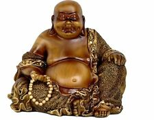 Oriental Furniture Faux Bronze Sitting Buddha Laughing Statue Figurine Fat Happy