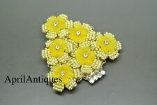 Vintage Stanley Hagler yellow flower beaded christmas tree brooch
