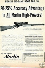 1956 Print Ad of Marlin Model 336-30/30 Carbine Micro-Groove Rifling