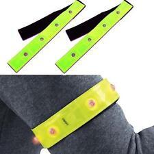Safety Reflective Yellow Armband Red LED Lights Running Cycling Walking Hot