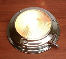 MARINE BOAT DOME LIGHT STAINLESS STEEL BEAUTIFUL ACCENT WITH ROCKER SWITCH