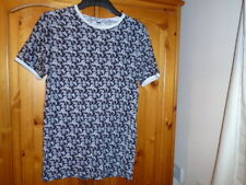 Black and white leaf print short sleeve t-shirt top, TOPMAN, size XXS