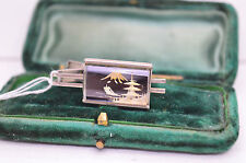 Vintage white metal tie clip with damascene design #T220
