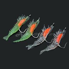 4x Imitazione Gamberetto Fluorescente Esca Artificiale con Amo per Pesca Notte