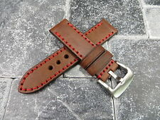 22mm NEW COW LEATHER STRAP Brown Watch Band Red Stitch PAM 22 mm