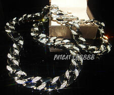 18K White Gold Filled Lab CZ Chain Micropave Miami Iced Out Necklace FN3187