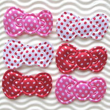 """75 pcs x 1.5"""" Padded Polka Dot Satin Bow Appliques for Hello Kitty Crafts ST597"""