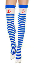 BLUE & WHITE STRIPEY ANCHOR THI HI STOCKINGS SAILOR NAUTICAL HARAJUKU LOLITA