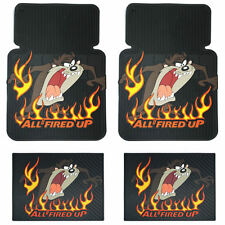 4PC Taz All Fired Up Front & Rear Rubber Car Truck Floor Mats Set