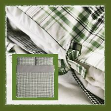 IKEA Snarjmara King Duvet Cover Set Pillowcase SNÄRJMÅRA Green Black Plaid Check