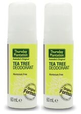 THURSDAY PLANTATION - DEODORANT 60ML x 2 - ALL NATURAL + FREE SHIPPING