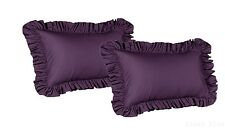 2 Piece King Size Ruffled Shams Solid Purple Cover Case Decorative Pillow