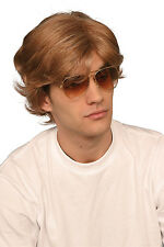 1980's 80's Brown George Michael Popstar Mens Fancy Dress Wig P8095
