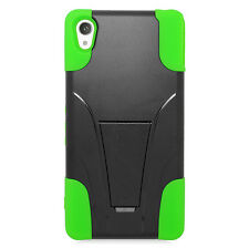 T-Stand Black on Green Combo Hard+Silicon Case For Sony Xperia Z3v Phone