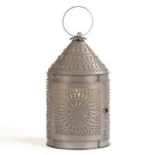 Fireside Lantern in Blackened Tin | Country Colonial Accent Table Light