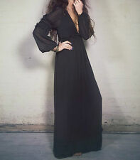 NWOT $550 ☮ Free People Candela Black Sheer Valley Dress Maxi Gown ☮ Small