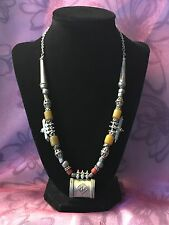 Antique Yemenite Hadhrami Silver Pendants & Butterscotch Bakelite Bead Necklace