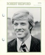 Robert Redford 1970's Actor Movie Star Card Photo Front Biography on Back 6 x 7""