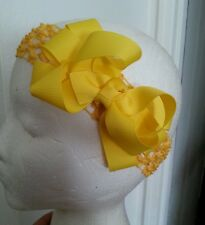 Beautiful~Baby~Girl~Toddler~Yellow~Boutique~Hair~Bow~Yellow~Crochet~Headband