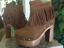 Five Worlds by Cordani Tambra Womens Platform Honey Suede Fringed Bootie/Clog 9M