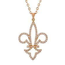 DIAMONDS PENDANT 0.57 CT D-E , IF-VVS  18K PINK GOLD FLEUR DE LIS TAX FREE