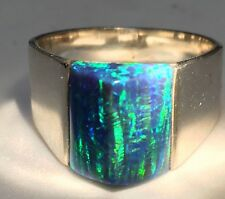 9 Green BLACK Fire Opal Sterling Silver Ring 925 Men's Pyramid Topper Solid